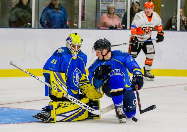 Leeds Knights' netminder Sam Gospel and defenceman Lewis Baldwin, right, are excited at the prospect of working with new head coach Dave Whistle. Picture courtesy of Mark Ferriss.