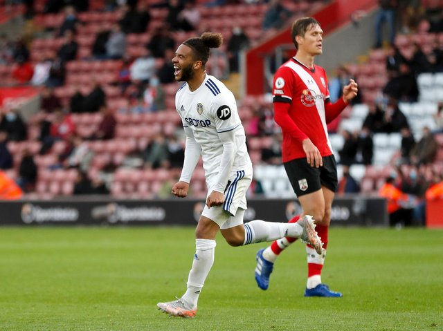 Leeds United forward Tyler Roberts celebrates at Southampton. Pic: Getty