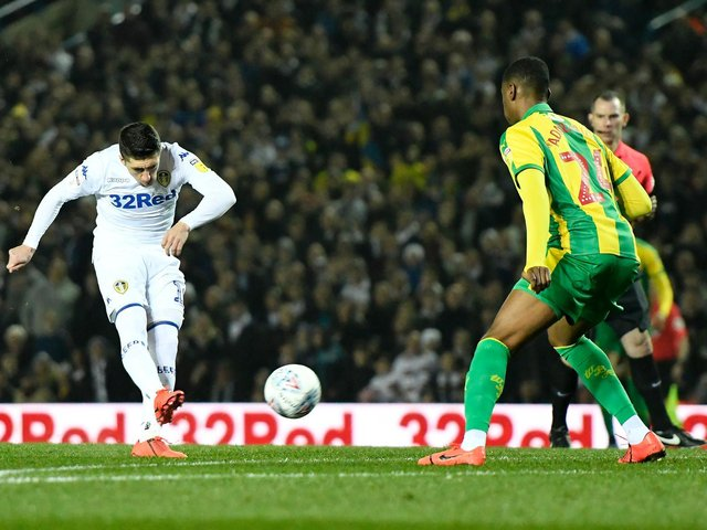 RAPID: Spanish magician Pablo Hernandez fires Leeds United in front after just 16 seconds of the Championship clash at home to West Brom of March 2019. Photo by George Wood/Getty Images.