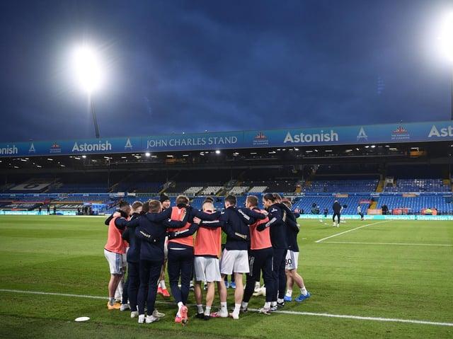 Leeds United huddle at Elland Road ahead of kick-off. Pic: Getty