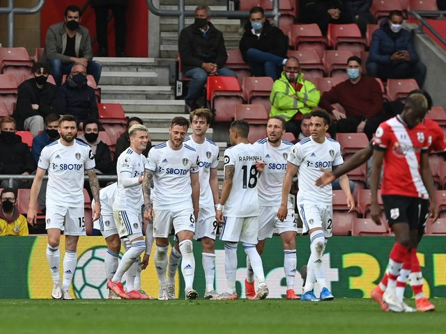 Leeds United celebrate at Southampton. Pic: Getty