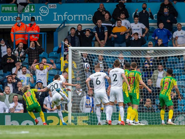 OPENER: Leeds United's record signing Rodrigo puts the Whites in front against West Brom. Picture by Bruce Rollinson.