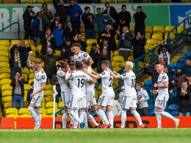 Leeds United celebrate at Elland Road. Pic: Bruce Rollinson