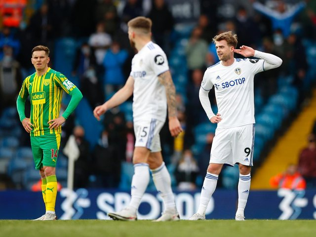 HONEST ASSESSMENT: From West Brom defender Conor Townsend, left, pictured as Leeds United striker Patrick Bamford celebrates scoring from the penalty spot. Photo by Lynne Cameron - Pool/Getty Images.