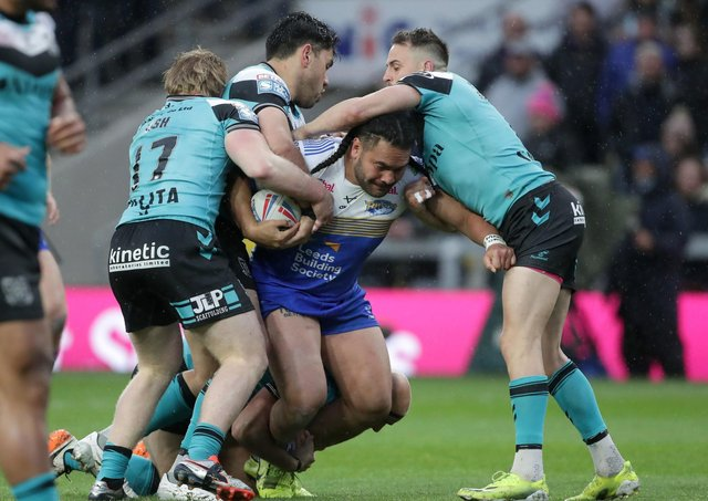 No way through the Hull defence for Leeds Rhinos' Konrad Hurrell. Picture: Richard Sellers/PA Wire.