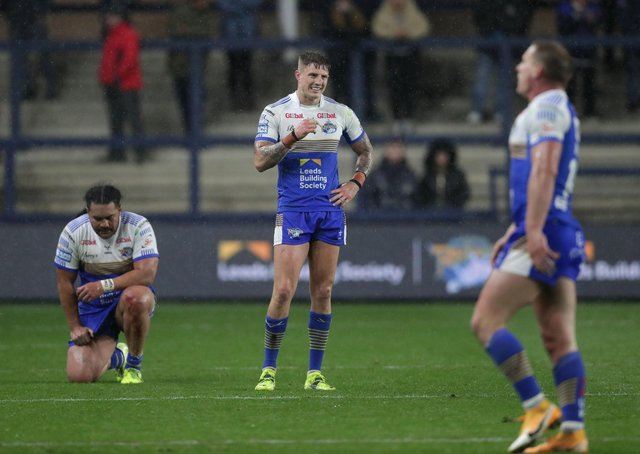 Leeds Rhinos' players show their frustration after their defeat to Hull. Picture: Richard Sellers/PA Wire.