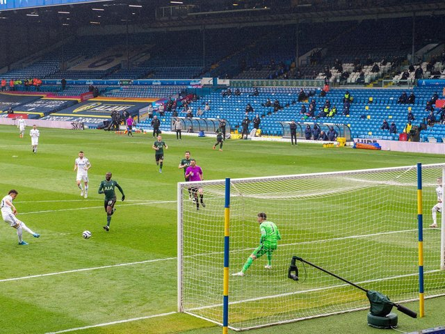 NOTABLE SUCCESS: Record signing Rodrigo fires home Leeds United's third goal in this month's 3-1 victory at home to Tottenham as a first 'big six' club is beaten at Elland Road. Picture by Bruce Rollinson.