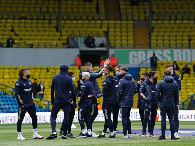 WELCOME BACK: From Leeds United to fans at Elland Road. Photo by JON SUPER/POOL/AFP via Getty Images.