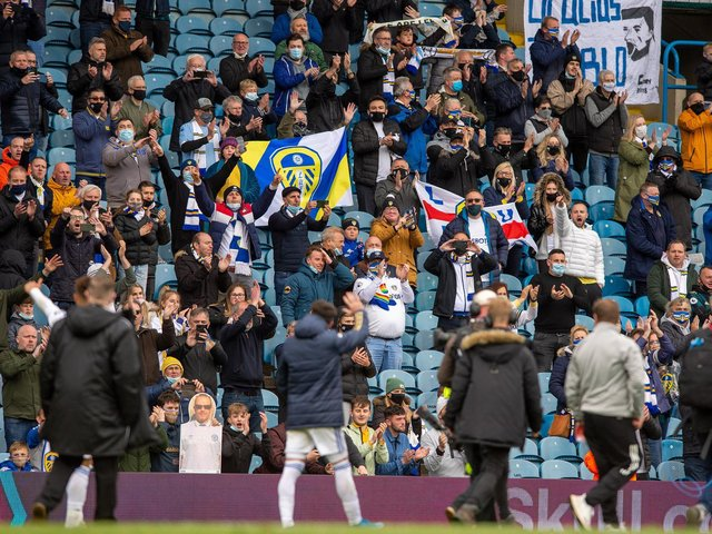 EMOTIONAL: Modern day Leeds United legend Pablo Hernandez waves farewell to the Elland Road crowd for one last time. Photo by Bruce Rollinson.
