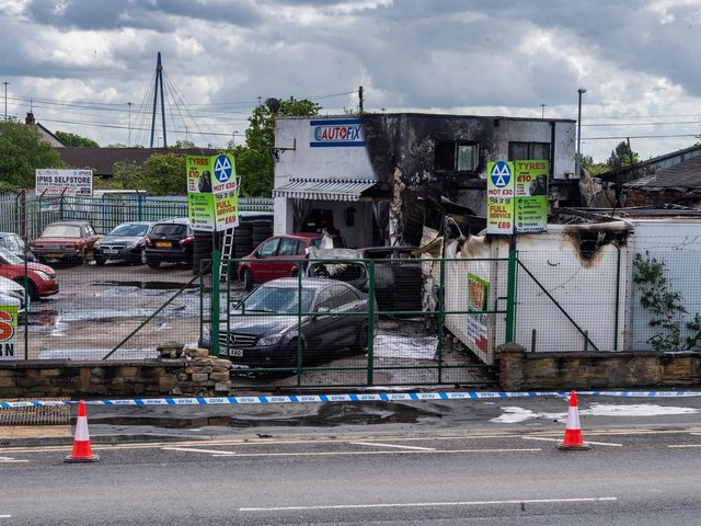 Aftermath of the fire at Auto Fix (photo: James Hardisty)