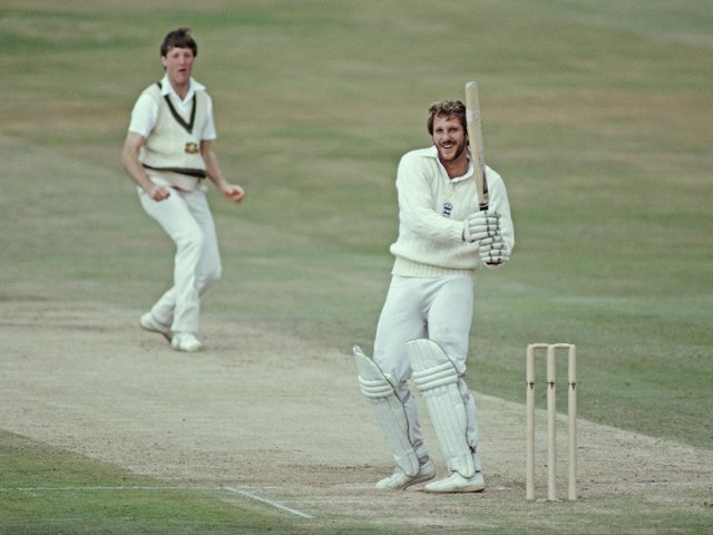Ian Botham smiles as he hits out off the bowling of Geoff Lawson during the second innings of the 3rd Cornhill Test match in July 1981. PIC: Getty