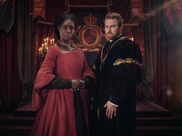 Jodie Turner-Smith as Anne Boleyn, Mark Stanley as Henry VIII. PA Photo/ViacomCBS Networks International.