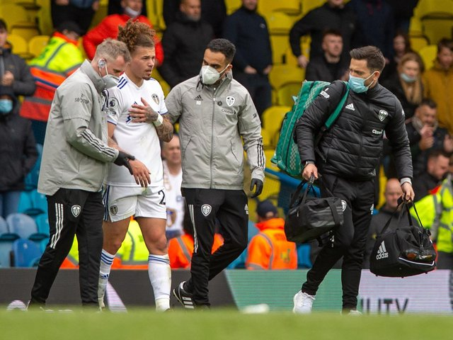 Leeds United midfielder Kalvin Phillips suffered a shoulder injury against West Brom. Pic: Bruce Rollinson