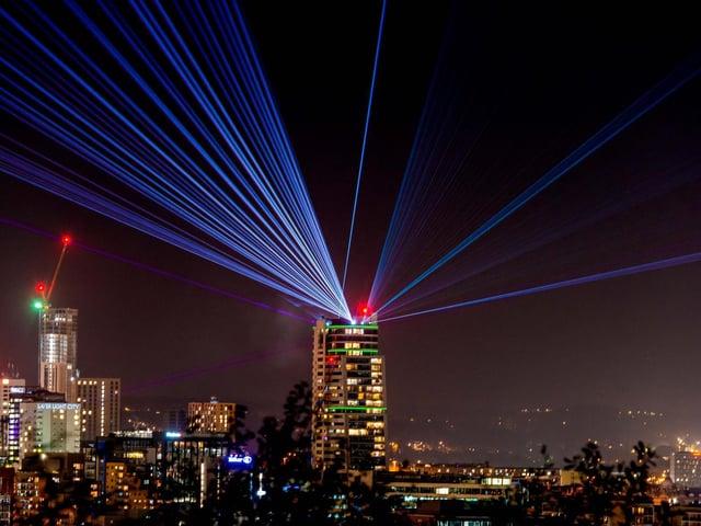 Laser Light City - an interactive light installation.