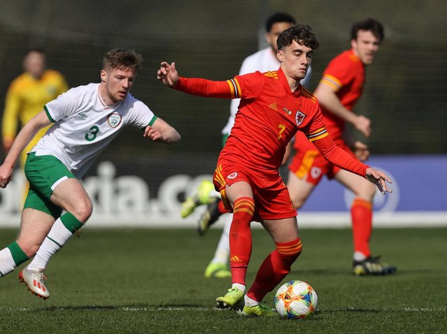 Leeds United's Niall Huggins in action against Ireland for Wales Under-21s. Pic: Getty