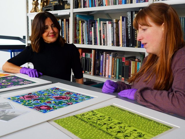 Gallery professional Chelsea Cefai (left) pictured with Natalie Raw, Leeds Museums and Galleries curator of dress and textiles.