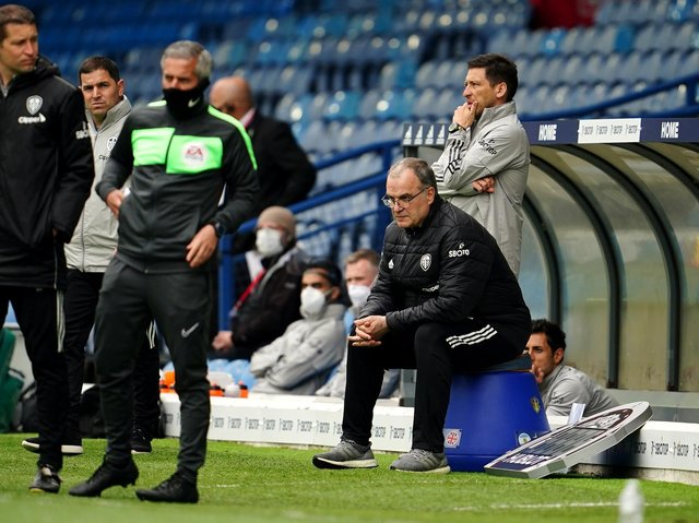 Leeds United head coach Marcelo Bielsa watches on at Elland Road. Pic: Getty
