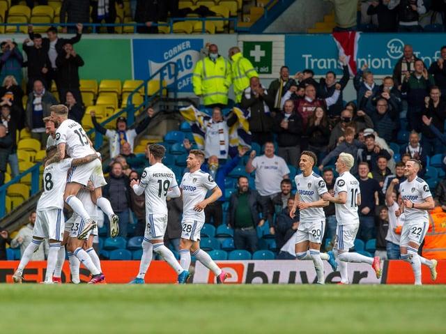 Leeds United celebrate against West Brom at Elland Road. Pic: Bruce Rollinson
