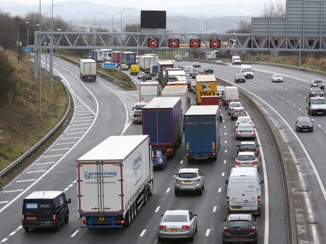A man was punched in the face during a road rage incident on the M62 in Leeds. Stock photo of M62.