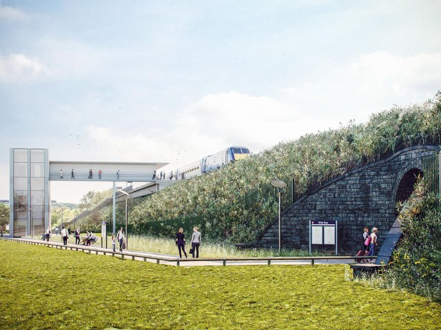 A CGI image showing what the new White Rose railway station could look like.