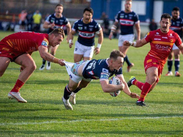 Olly Ashall-Bott scored on his Trinity debut, against Catalans. Picture by Bruce Rollinson.
