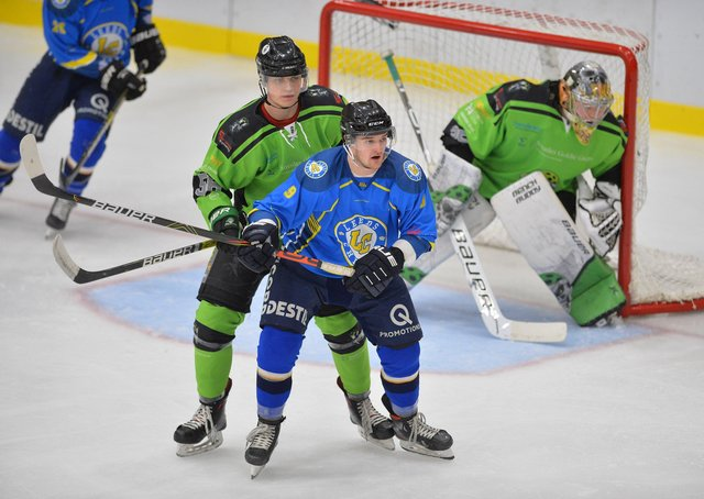 WELCOME BACK: Joe Coulter, right, will return Leeds for the 2021-22 NIHL National season. Picture: Dean Woolley.