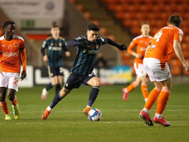 Leeds United's Sam Greenwood in action against Blackpool in the EFL Trophy. Pic: Getty
