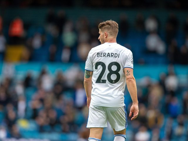 Leeds United defender Gaetano Berardi during his final appearance for the club. Pic: Bruce Rollinson