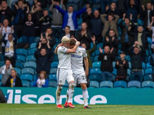 EMOTIONAL FANFARE - Gjanni Alioski's good friends and team-mates Gaetano Berardi and Pablo Hernandez had standing ovations as they left Leeds United on Sunday. Pic: Bruce Rollinson