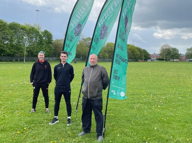 The coaches at Holbeck Moor FC, who will run the sessions on a pay-as-you-feel basis