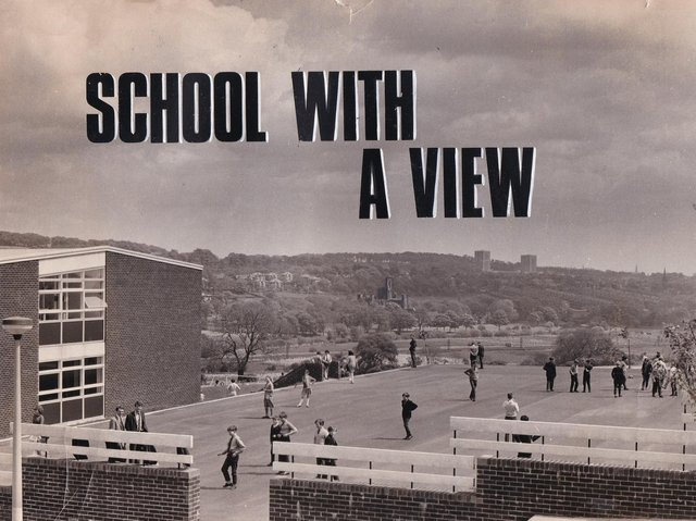 The view from the playground at St Benedict's R.C. Secondary School in June 1966.