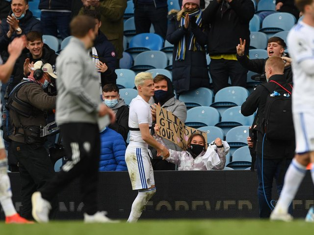 STILL TALKING - Leeds United have not closed the door on Gjanni Alioski and the two parties held sit-down talks this week after the Premier League season was concluded. Pic: Getty