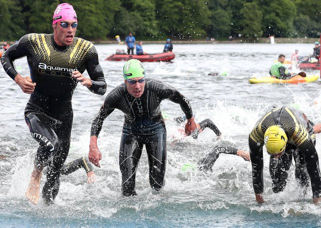 Splashing out: Alistair Brownlee, second left, exits the water during the 2019 ITU World Triathlon Series Event in Leeds.