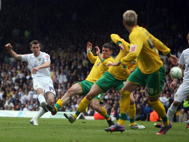 Jonny Howson fires home an equaliser against Bristol Rovers at Elland Road in May 2010. PIC: Varley Picture Agency