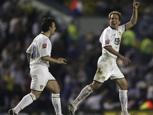 Eddie Lewis celebrates scoring against Preston North End in the play-off semi final first leg at Elland Road in May 2006. PIC: Getty