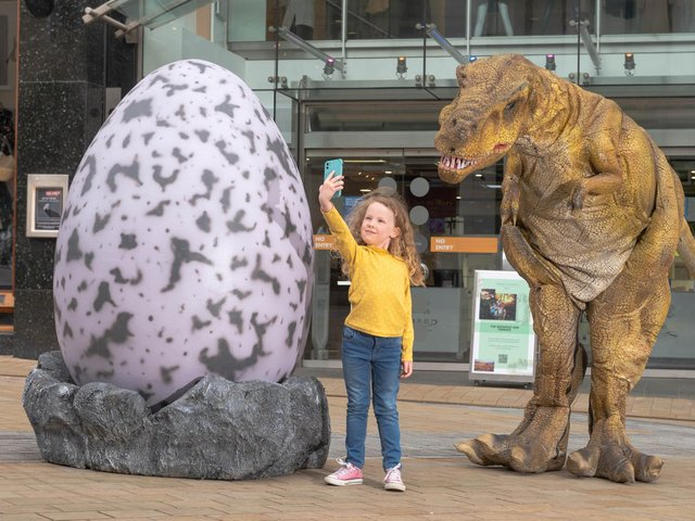 Take a casual selfie with a dinosaur in and around Leeds city centre this summer.