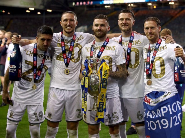 SPECIAL GROUP - Barry Douglas, right, was one of the leaders in the Leeds United dressing room along with this group of Championship winners. Pic: PA