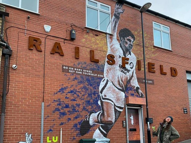 The Leeds United Supporters Trust Gary Speed mural in Bramley.