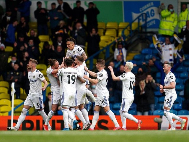 Leeds United celebrate at Elland Road on the final day of the Premier League season. Pic: Getty