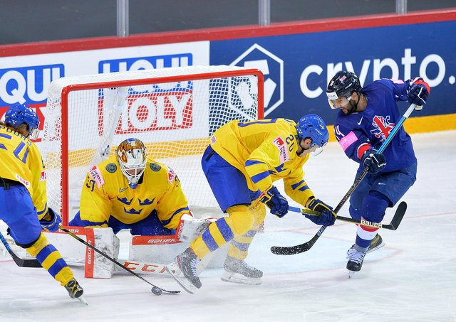 ON TARGET: Liam Kirk, far right, scopreer of Great Britain's goal, battles for possession in front of the Sweden net. Picture: Dean Woolley.