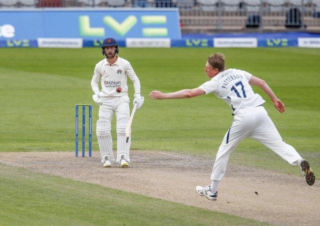 SO CLOSE: Yorkshire captain Steve Patterson narrowly misses out on a caught and bowled chance from Lancashire's Josh Bohannon. Picture: John Heald.