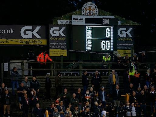 The scoreboard tells the story at the end of Tigers' derby drubbing by Rhinos. Picture by Ed Sykes/SWpix.com.