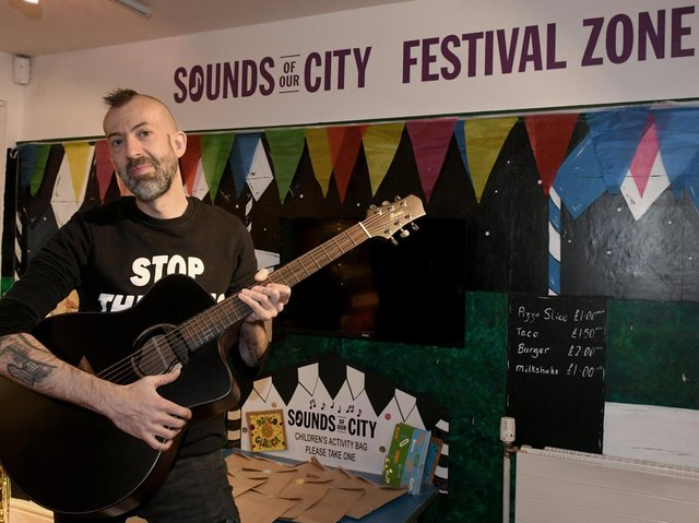 Singer Songwriter Jon Gomm, based in Leeds, with his prototype Ibanez guitar he was loaning to the Sounds of The City exhibition at the Kirkstall Abbey House Museum.
