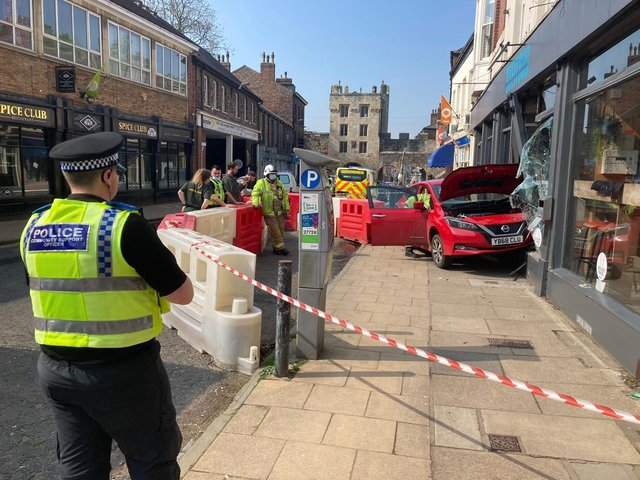 A car crashed into the BrewDog pub. Photo: North Yorkshire Police