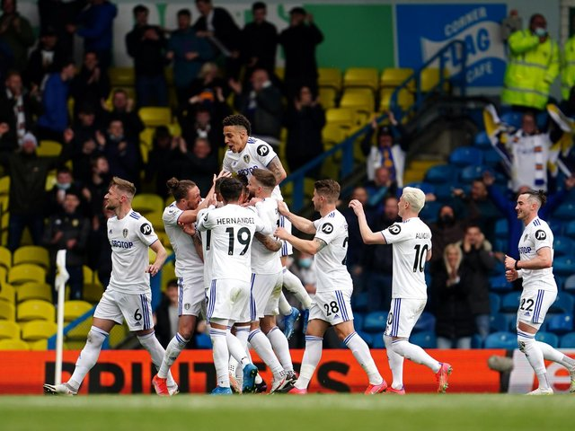 FLYING HIGH: The Whites celebrate after Kalvin Phillips nets in the season finale against West Brom. Photo by Jon Super - Pool/Getty Images.