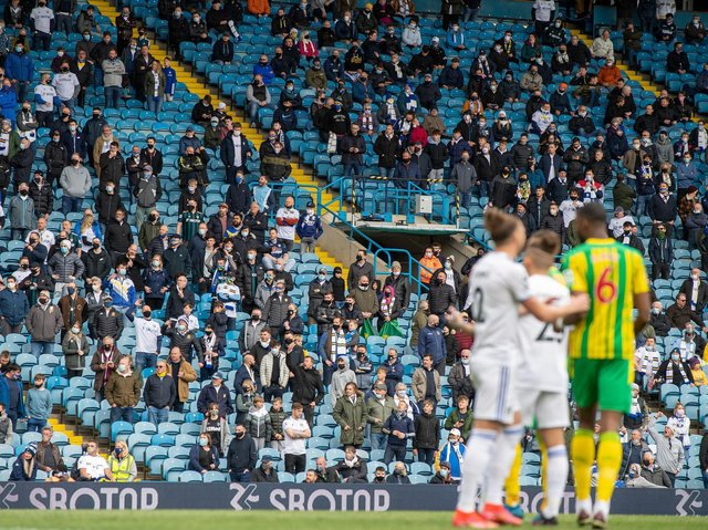 Leeds United fans watch on at Elland Road. Pic: Bruce Rollinson