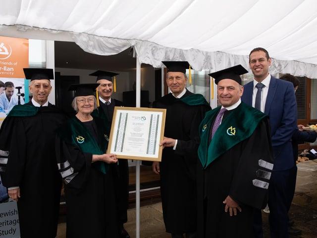 From left to right: David Gradel, Board member of Bar-Ilan University, Baroness Hale, Dr David Dangoor, Sir Bernard Rix, Romie Tager QC of London and Shlomo Rechtschaffen, Executive Director Bar-Ilan UK.