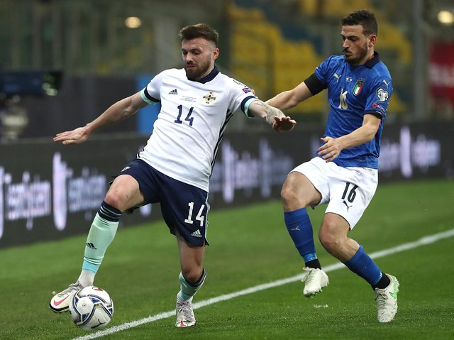 Leeds United utility man Stuart Dallas in action for Northern Ireland. Pic: Getty