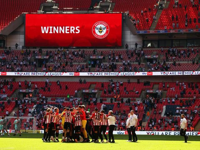 Brentford celebrate at Wembley. Pic: Getty