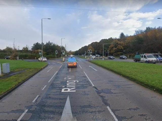 The A6120 Ring Road in Moortown is currently blocked eastbound.